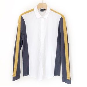 ASOS Mens Navy Blue Color Block Dress Shirt Size L